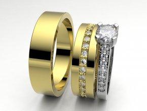 Žluté Au585 snubní prsteny 3306402