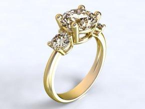 Zlatý prsten se třemi kameny 1304201