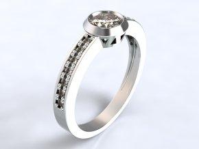 Au 585/1000 Zlatý prsten s kamenem 1304301