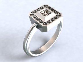 Ag925 prsten čtverec lemovaný