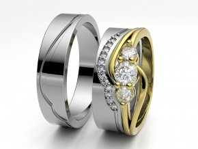 Skládací snubní prsteny bílé zlato 3307701