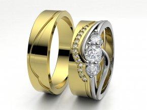 Skládací snubní prsteny žluté zlato 3307702