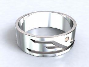 Stříbrný prsten éčko