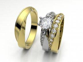Skládací snubní prsteny žluté zlato 3308302