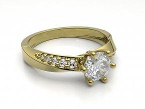 Zlatý zásnubní prsten do soupravy se snubním 1307601