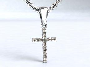 Přívěsek zlatý křížek se zirkony