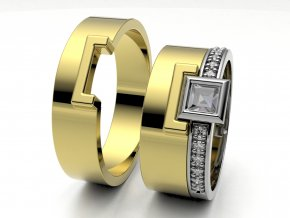 Skládací snubní prsteny žluté zlato 3308202