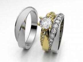 Skládací snubní prsteny bílé zlato 3308301