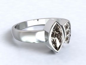 Stříbrný prsten lodička otevřený