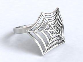 Stříbný prsten pavučina