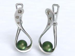 Zlaté náušnice patent s kameny a perlou 991203301
