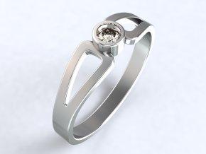 Stříbrný prsten s okénky vedle kamínku 326401