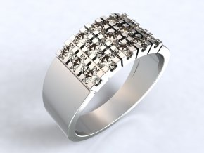 Stříbrný prsten se řadami kamenů 326601