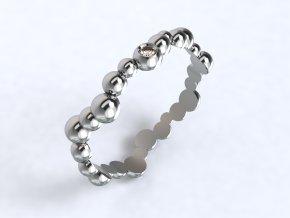 Stříbrný prsten vlnovka z kuliček 327101
