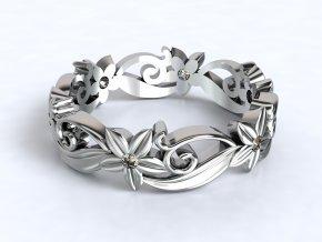 Stříbrný prsten jemné kytičky 327401