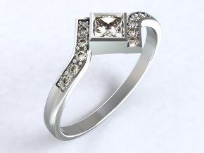 Stříbrný prsten čtverec uprostřed