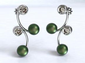 Stříbrné náušnice esíčko se zirkony a perlami 219701