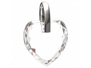 přívěsek skleněné srdíčko se stříbrným očkem pro řetízek 111701