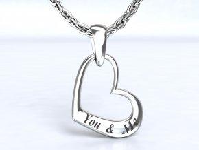 Stříbrný přívěsek srdce you and me 119401