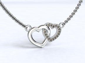 Stříbrný náhrdelník dvě srdíčka 121301