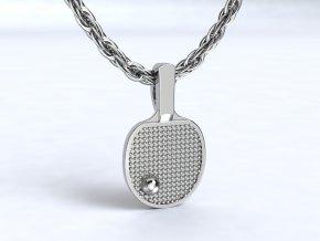 Stříbrný přívěsek pálka na stolní tenis 121701