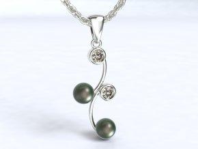 Stříbrný přívěsek esíčko se zirkony a perlami 121901