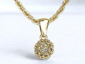 Zlatý přívěsek půlkulička s kameny 1105701