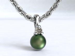 Zlatý přívěsek perla a zirkon 1108901