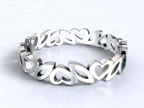 Stříbrný prsten srdíčko a lístek 318401