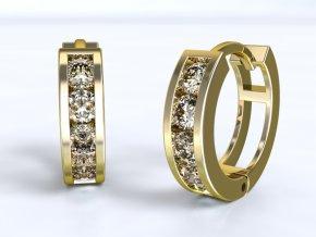 Zlaté náušnice kroužky se zirkony 1204701