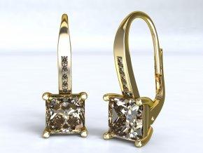 Zlaté náušnice čtvercový zirkon 1206401