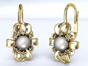 Zlaté náušnice květina s perlou 1208101