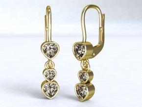 Zlaté náušnice srdíčka 1210001