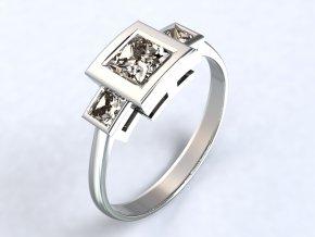 Stříbrný prsten čtverce nad sebou 319201
