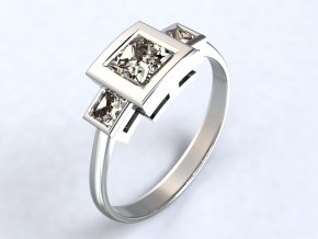 Stříbrný prsten čtverce nad sebou