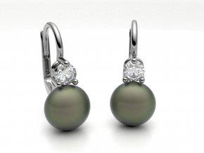 Zlaté náušnice s button perlou 1213601