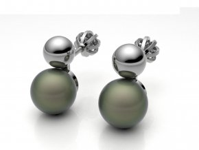 Zlaté šroubky kulička s button perlou 1213801