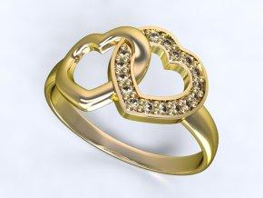 Zlatý prsten dvě srdce 1306301