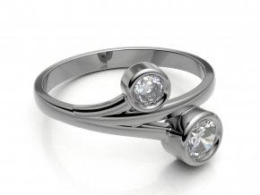 Zlatý prsten dva zirkony 31390101