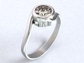 Prsten se zirkonem přetočený stříbrný