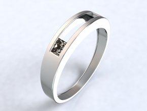 Stříbrný prsten se čtvercem na kraji 320201