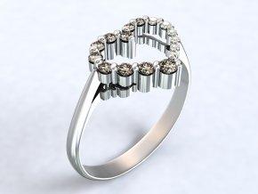 Stříbrný prsten srdce postup