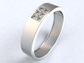 Stříbrný prsten šest zirkonů obdélník