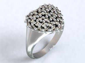 Stříbrný prsten srdce ježek