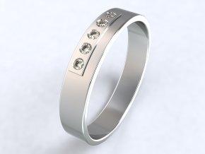 Ag925 prsten plošina pět zirkonů