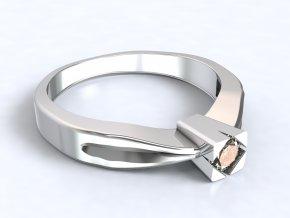 Stříbrný prsten zirkon v čtverci