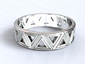Stříbrný prsten trojúhelníky