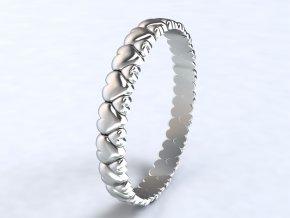Stříbrný prsten srdíčka obvod 322901