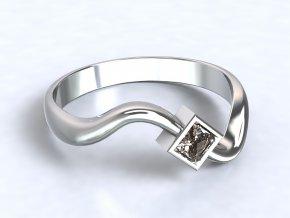 Stříbrný prsten vlna se čtvercovým zirkonem