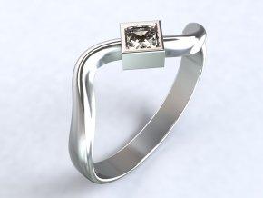 Ag925 prsten vlna - čtvercový zirkon